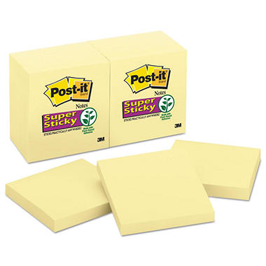 Post-it - Super Sticky Notes - 3 x 3 - Canary Yellow - 12 90-Sheet Pads/Pack