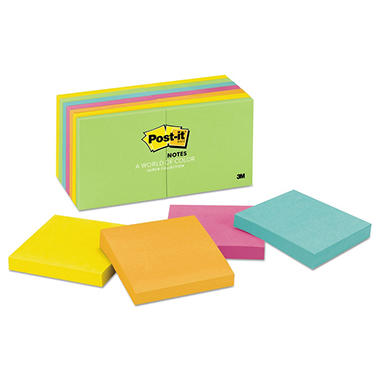 Post-it - Ultra Color Notes - 3 x 3 - Five Colors - 14 100-Sheet Pads/Pack