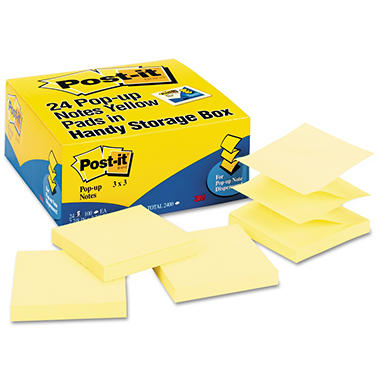 Post-it - Pop-Up Note Refills - 3 x 3 - Canary Yellow - 24 100-Sheet Pads/Pack