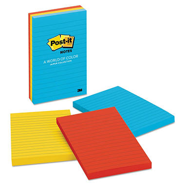 Post-it - Ultra Color Notes - Lined - Three Colors - 3 100-Sheet Pads/Pack - Various Sizes