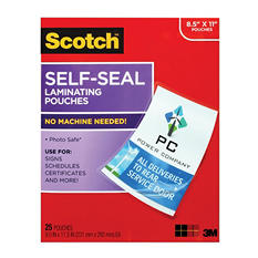 "Scotch Self-Sealing Laminating Pouches, 8.5"" x 11"", 25ct,"