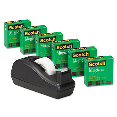 "Scotch - 810 Magic Tape, 3/4"" x 1,000"" - 6 Rolls w/Deluxe Dispenser"