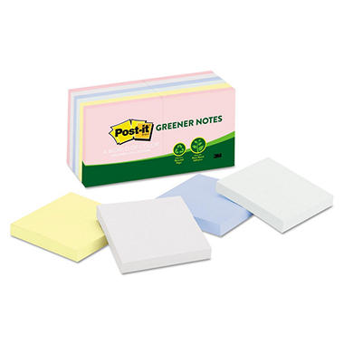 Post-it - Greener Recycled Pastel Notes - 3 x 3 - Sunwashed Pier - 12 100-Sheet Pads/Pack