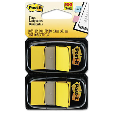 Post-it Flags - Standard Tape Flags in Dispenser - Yellow - 100 Flags/Dispenser