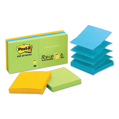 Post-it - Ultra Pop-Up Refills - 3 x 3 - Three Ultra Colors - 6 100-Sheet Pads/Pack