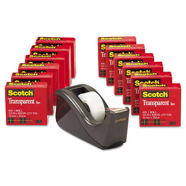 "Scotch - 600 Transparent Tape, 3/4"" x 1,000"" - 12 Rolls w/Dispenser"