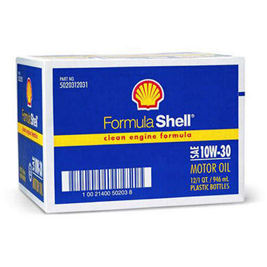 Formula Shell SAE 10W30 Motor Oil - 1 Quart Bottles - 12 pack