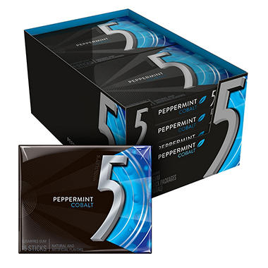 5 Cobalt Cooling Peppermint Sugarfree Gum - 15 piece pks. - 10 ct.