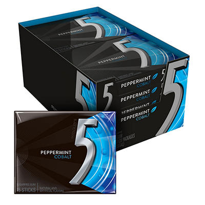 5 Cobalt Cooling Peppermint Sugarfree Gum - 15 piece pks. - 10 ct.