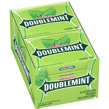 Wrigley's™ Doublemint® Gum - 15 stick packs - 10 ct.