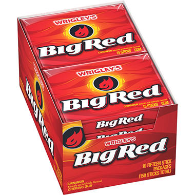 Wrigley's Big Red Slim Pack Cinnamon Gum (15 stick pack, 10 pks.)