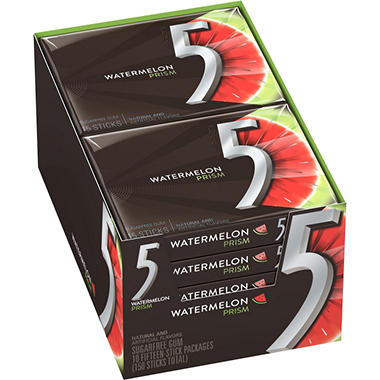 5? Prism? Electric Watermelon Sugarfree Gum - 15 piece pks. - 10 ct.