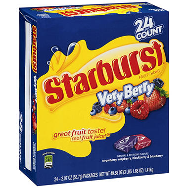 Starburst Very Berry Fruit Chews - 2.07 oz. - 24 ct.