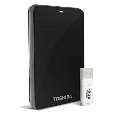 Toshiba Canvio 3.0 Plus 1.0TB Portable Hard Drive in Black with 16GB USB Flash Drive