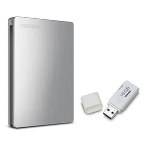 Toshiba Canvio Slim II 1TB Portable Hard Drive with USB 2.0 Flash Drive 16GB