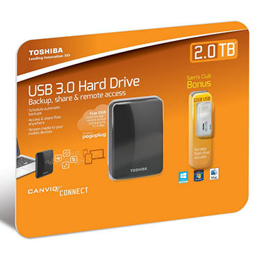 Toshiba Canvio Connect Portable Hard Drive 2TB with USB 2.0 Flash Drive 32GB