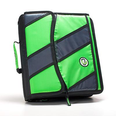 "Case It 2"" D-Ring Zipper Binder, Green/Gray/Black"
