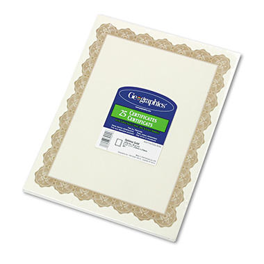 Geographics - Parchment Paper Certificates, 8-1/2 x 11, Optima Gold Border, 25 per Pack