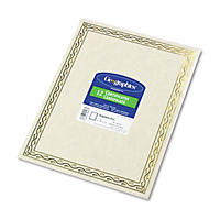 Geographics - Foil Stamped Award Certificates, 8-1/2 x 11, Gold Serpentine Border, 12 per Pack