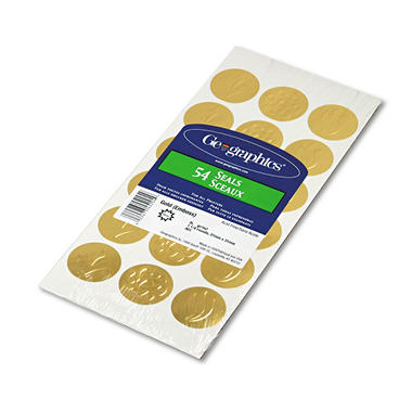 Geographics - Self-Adhesive Embossed Gold Seals - 54 Pack