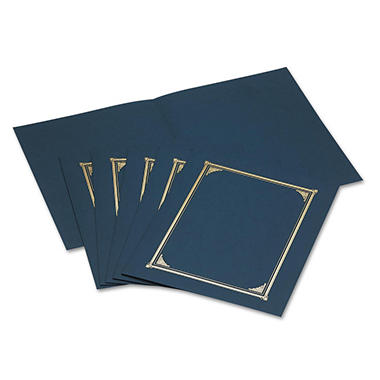 Geographics - Certificate/Document Cover, 12-1/2 x 9-3/4 - Navy Blue, 6 Pack