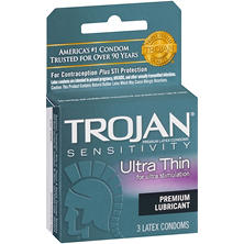 Trojan Sensitivity Ultra Thin Premium Lubricant Latex Condoms (3 ct.)
