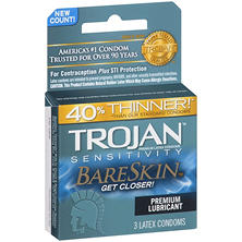 Trojan Sensitivity BareSkin Premium Lubricant Latex Condoms (3 ct.)