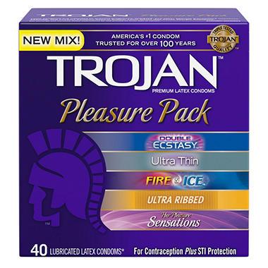 Trojan® Pleasure Pack Premium Latex Condoms - 40 ct.