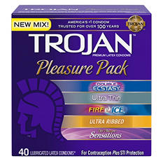 Trojan® Pleasure Pack Premium Latex Condoms - 40 ct.