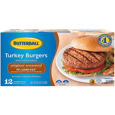 Butterball Turkey Burgers, Original Seasoned (4 lbs.,12 ct.)