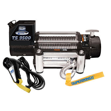 Superwinch Tiger Shark 12 Volt DC Off-Road Winch with Stainless Steel 4-Way Roller Fairlead and 12' remote - 9,500 lb Capacity