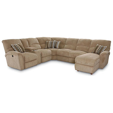 Lane furniture robert 4 piece reclining sectional sofa for Beige sectional with chaise