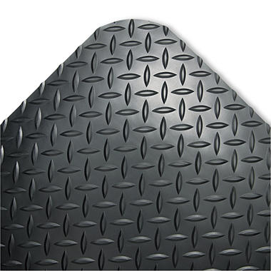 "Crown Industrial Deck Plate Anti-Fatigue Mat - 24"" x 36"" - Black"