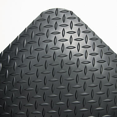 "Crown Industrial Deck Plate Anti-Fatigue Mat - Black - 36"" x 60"""
