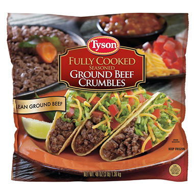 Tyson Fully Cooked Seasoned Ground Beef Crumbles - 3 lbs.