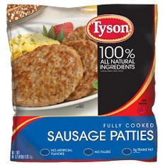 Tyson Fully Cooked Pork Sausage Patties - 4 lbs.