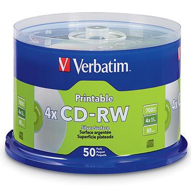 Verbatim CD-RW Discs, 700MB/80min, 4x, Spindle, Silver (50 ct.)