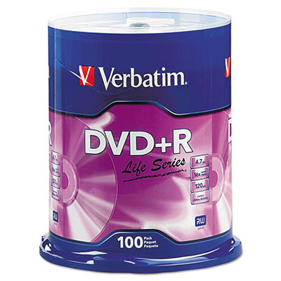Verbatim DVD+R Life Series 4.7GB 16x - 100 Pack