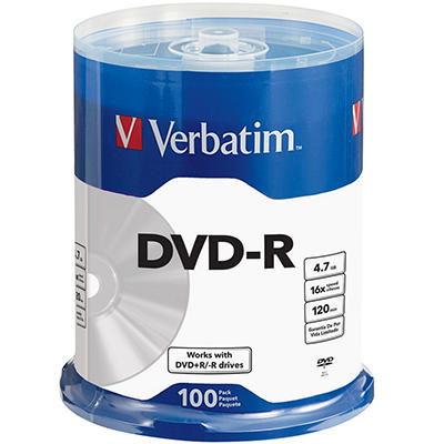 Verbatim DVD-R Life Series 4.7GB 16X - 100 Pack