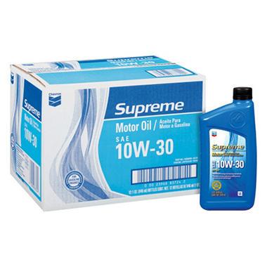 Chevron Supreme 10w30 Motor Oil 1 Quart Bottles 12