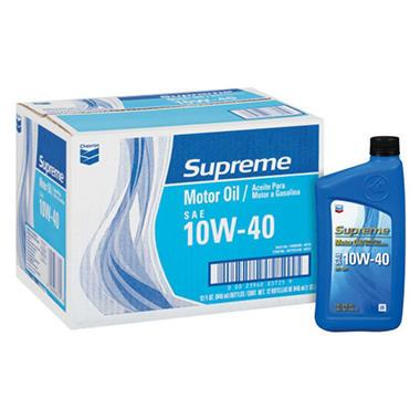 Chevron Supreme 10w40 Motor Oil 1 Quart Bottles 12
