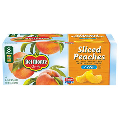 Del Monte Lite Sliced Peaches - 15 oz. cans - 8 pk.