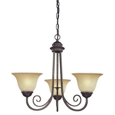 3-Light Ebony Bronze Chandelier