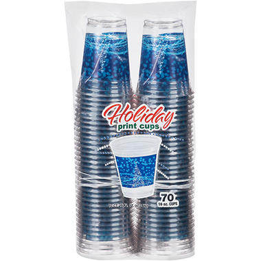 Vibrants Holiday Cold Plastic Cups, 16 oz. (70 ct.)