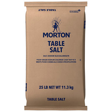 Morton� Plain Table Salt - 25 lb. bag