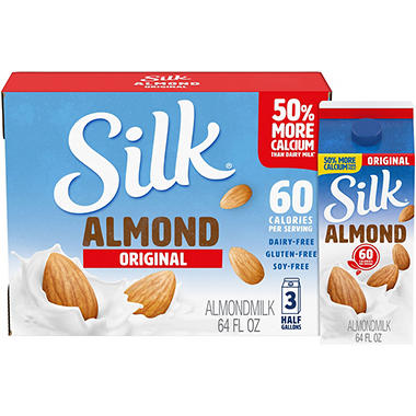 Silk Pure Almond Original Almond Milk  (64 oz., 3 ct.)