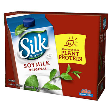 Silk® Soymilk Plain - half gallon - 3 ct.