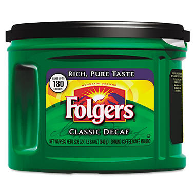 Folgers Classic Roast Ground Coffee - Decaffeinated - 22.6 oz