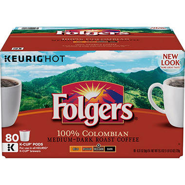 Folgers Gourmet Selections Single Serve Coffee, Lively Colombian (80 K-Cups)