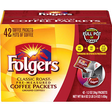 Folgers Classic Roast Ground Coffee Packets - 1.2 oz. - 42 ct.